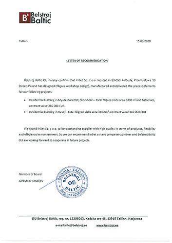 Letter of recommendation Belstroj