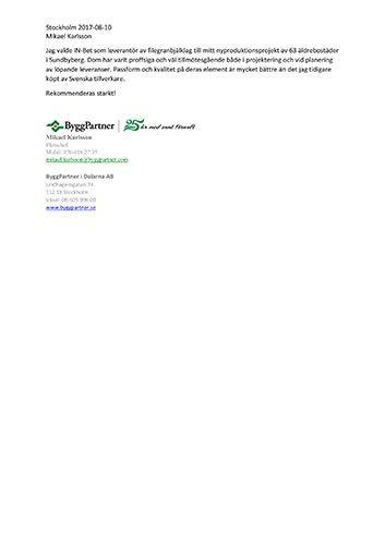 Letter of recommendationBygg Partner
