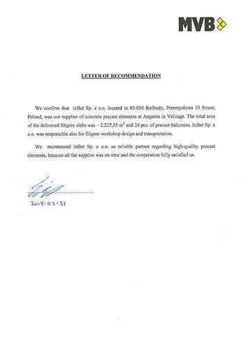 Letter of recommendationMVB Angarna