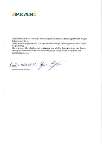 Letter of recommendation Peab